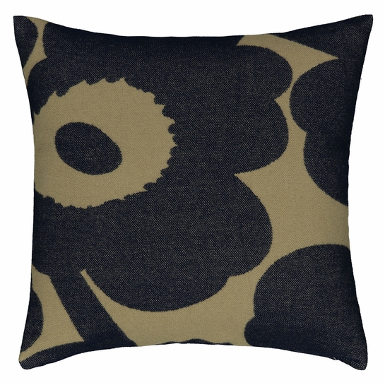 Marimekko Unikko Navy / Olive Large Throw Pillow