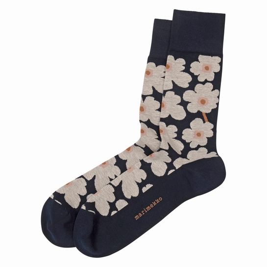 Marimekko Unikko Navy  / Salmon Men's Socks