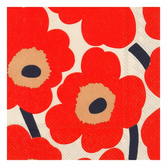 Marimekko Unikko Orange / Beige Lunch Napkins