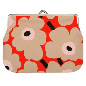 Marimekko Unikko Orange / Beige / Pink Large Coin Purse