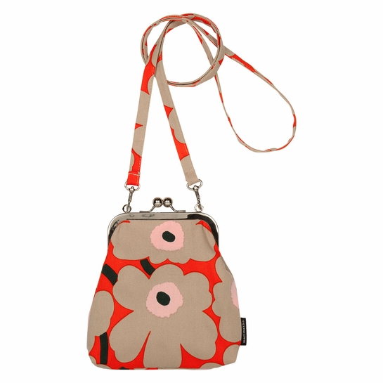 Marimekko Unikko Orange / Beige / Pink Roosa Purse
