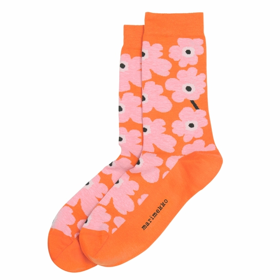 Marimekko Unikko Orange / Pink / Black Socks
