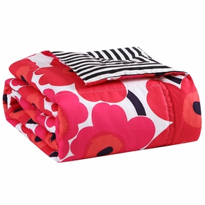 Marimekko Unikko Red / Ajo Black Reversible Twin Blanket