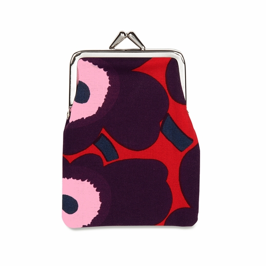 Marimekko Unikko Red / Plum / Pink Small Coin Purse