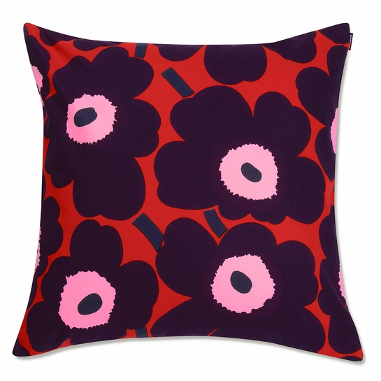 Marimekko Unikko Red / Plum / Pink Large Throw Pillow