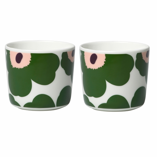 Marimekko Unikko White / Green / Pink Coffee Cup Set