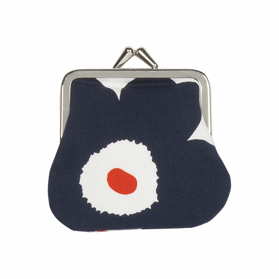 Marimekko Unikko White / Navy / Orange Mini Coin Purse