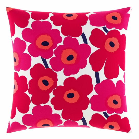 Marimekko Unikko White / Red Oversized Throw Pillow