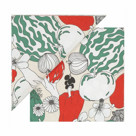 Marimekko Vihannesmaa Red / Green Cocktail Napkins