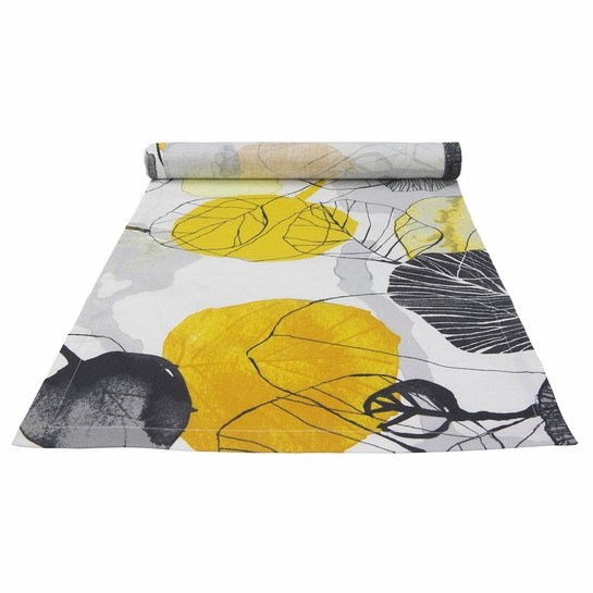 Pentik Haapa Grey / Yellow Acrylic-coated Table Runner
