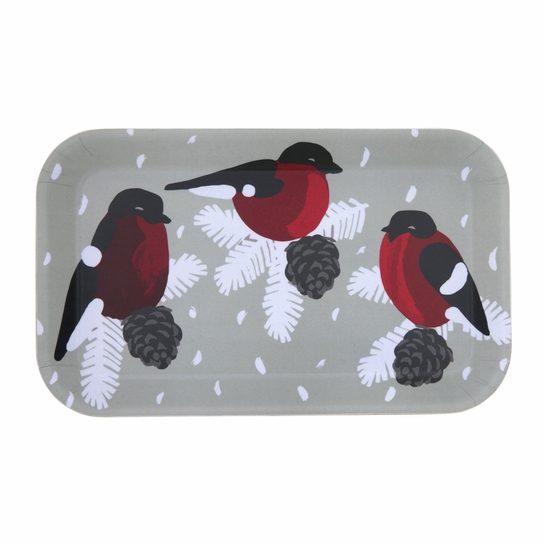 Pentik Punatulkku (Bullfinch) Grey Tray
