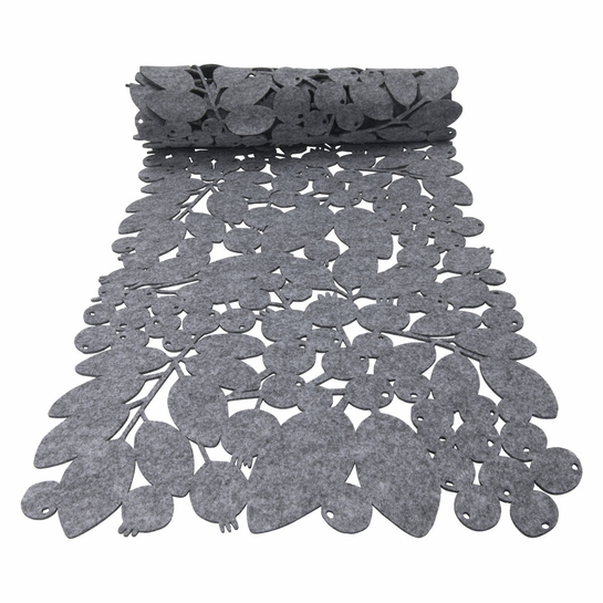 Pentik Ruusunmarja (Rose Hip) Grey Felt Table Runner