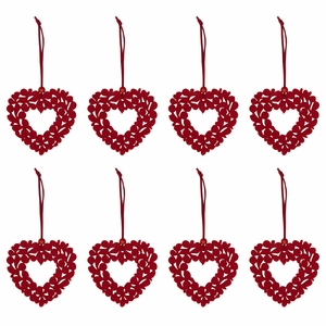 Pentik Varpu Red 8pc Ornament Set