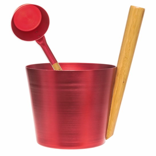 Rento Fiery Red Aluminum & Bamboo Sauna Bucket + Ladle Gift Set