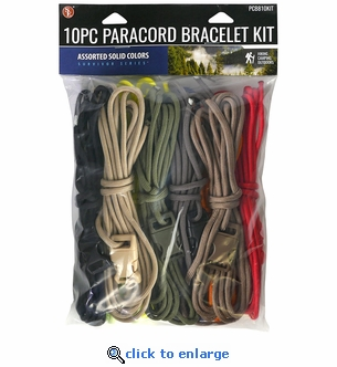 10 Piece Paracord Bracelet Kit - Assorted Colors