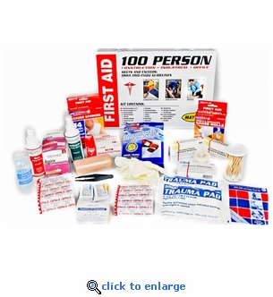 100 Person OSHA First Aid Kit in Metal Cabinet