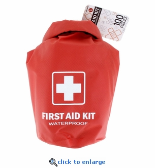 100 Piece First Aid Kit in Waterproof Red Dry Sack