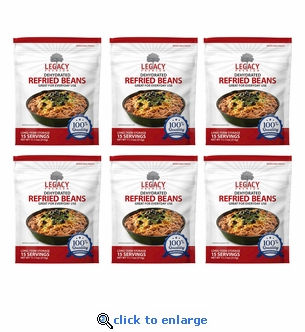 15 Serving Dehydrated Refried Beans - 6 pack