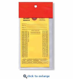 25 Heavy-Duty Red Flap Tag Covers, 7 1/6