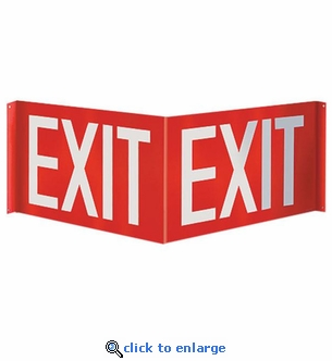 3D Angle Exit Sign - Silk Screened on Rigid Plastic  - 12