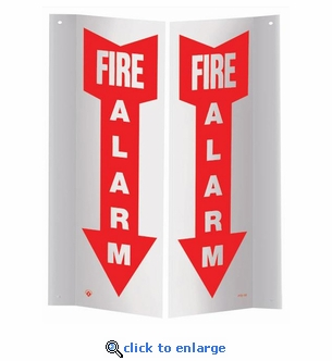 3D Angle Rigid Plastic Fire Alarm Arrow Sign - 4
