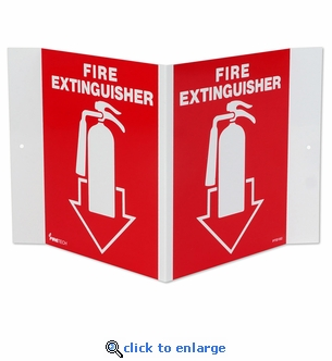 3D Angle Rigid Plastic Fire Extinguisher Arrow Sign Pictogram - 5