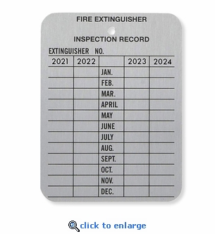 4 Year Metal Fire Extinguisher Monthly Inspection Tag - 2 1/4