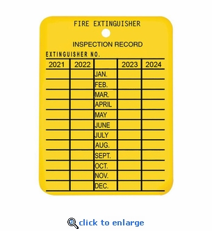 4 Year Plastic Fire Extinguisher Monthly Inspection Tag - Yellow - 2 1/4