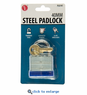 """40 MM Steel Laminated Padlock with Protective Bumper - 2 ¾ x 1 ¾ x 1"""""""