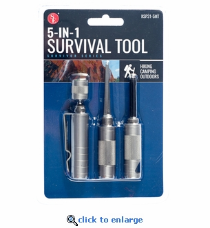 5-1 Compact Survival Tool, Compass, Punch, Striker, Flint, Whistle