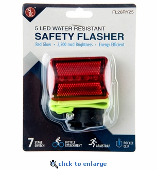 5 LED Water Resistant Red Safety Light/Flasher with Arm Band & Bike Attachment