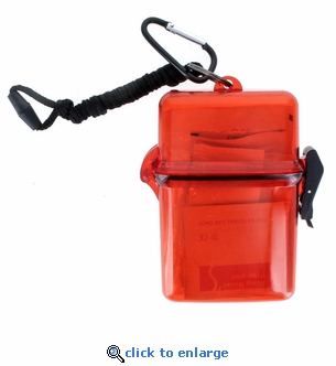 50 Piece First Aid Kit in Red Clear Waterproof Case with Carabineer & Lanyard