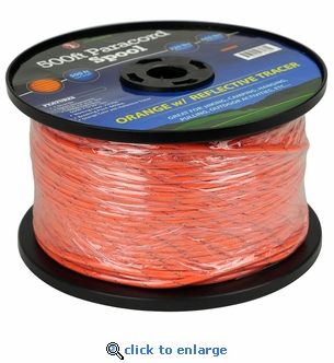 500 Ft. Bulk Paracord Spool - Orange with Reflective Tracer - 5/32