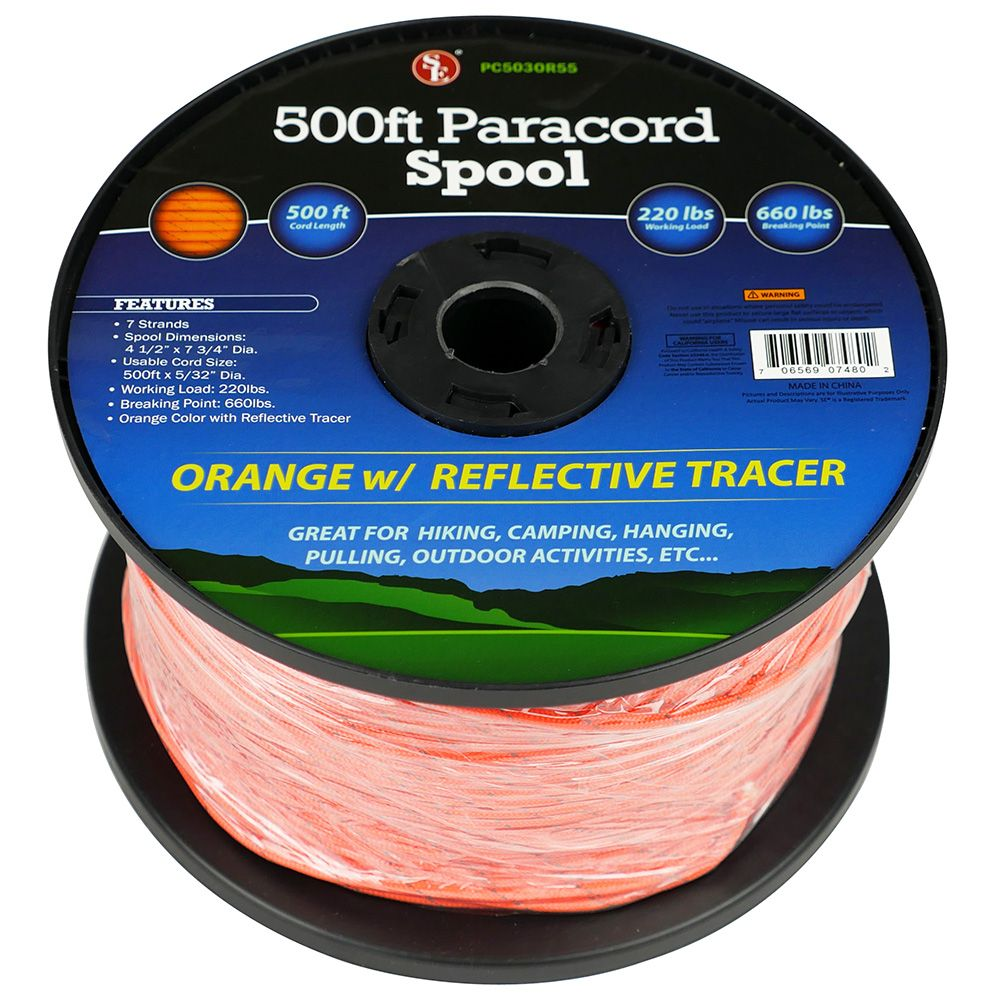 500 FT Reflective Orange Paracord Spool Hunting Outdoor Camping Survival Tool !