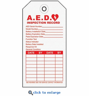 AED Inspection Tags  - Pack of 25