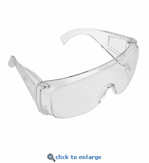 ANSI Approved Safety Glasses - Anti Scratch, Anti-Fog Plastic Lenses - Fits Over Glasses