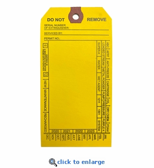 Blank Extinguisher Service Tags, Standard, Yellow - 2 5/8