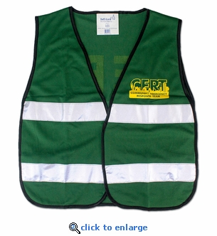 C.E.R.T Green Mesh Safety Vest with Reflective Stripes and Logo - One Size Fits All