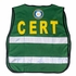 C.E.R.T LISTOS Green Mesh Safety Vest with Reflective Stripes - One Size Fits Most