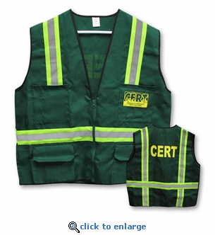 CERT Jacket Vest - 6 Pocket with Reflective Stripes - Small to XXX-Large