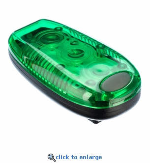 Clip On Green LED Safety Strobe Light - 3 Stage - Batteries Included