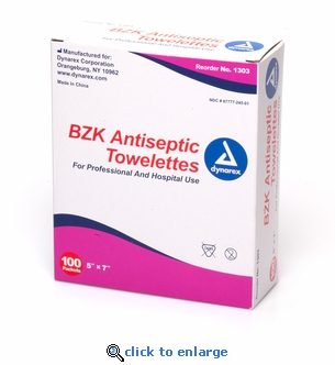 Dynarex 1303 BZK Antiseptic Towelettes - Box of 100 Packets - 5 x 7
