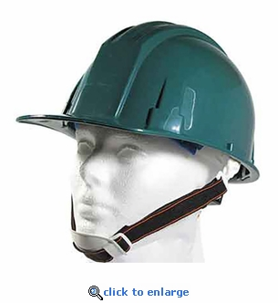 Green ANSI Hardhat with 4-Point Ratchet Suspension  - Includes Chin Strap