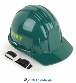 Green CERT Hard Hat with Chin Strap - CERT Lettering on Sides