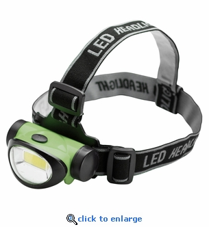 Green COB LED Headlamp Flashlight - 200 Lumen - 3 Watt