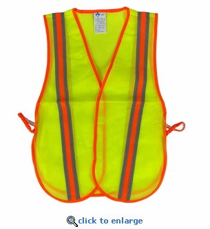 High Visibility Neon Yellow Mesh Safety Vest with Reflective Stripes & Orange Trim