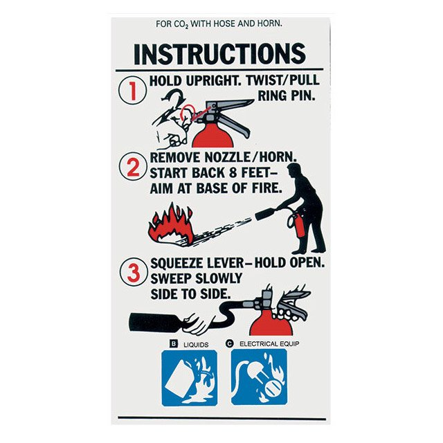 Large Co2 Extinguisher With Hose And Horn Instruction Label 3 X 5
