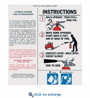 Large CO2 Extinguisher With Hose and Horn Instruction Label - 5