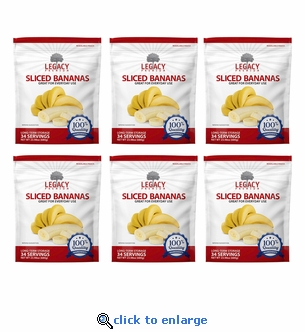 Legacy 34 Serving Freeze Dried Bannana Chips - 6 Pack