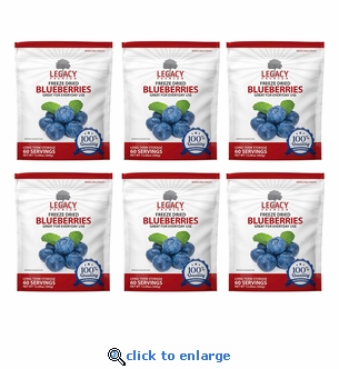 Legacy 60 Serving Freeze Dried Blueberries - 6 Pack